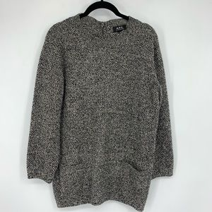 A.P.C. Marled Gray Pullover Pocket Sweater